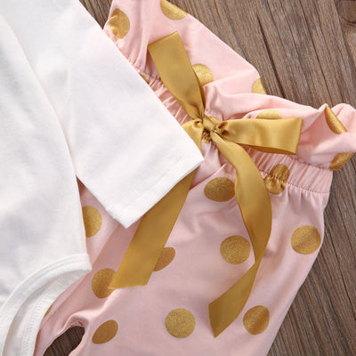 3Pcs Suits Children Clothing Newborn Baby Girl Polka Dots Outfits Romper Tops+Long Pants Headband Clothes Set