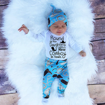 Autumn Baby Boys Clothes Toddler Newborn Baby Boys Girls Cowboy Romper+Pants Clothes 3pcs Outfits Set
