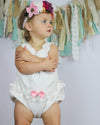 Baby Girl Flower Sleeveless Lace Romper  bow-knot Jumpsuit Outfits Costume