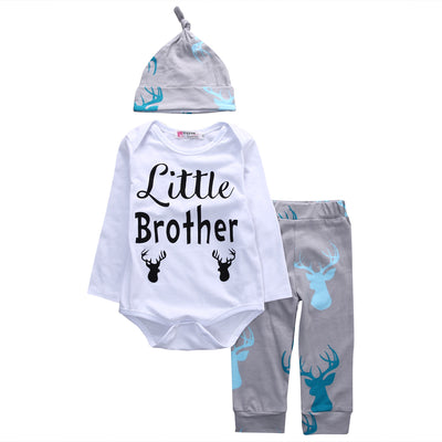 New Autumn Baby Boys clothing set kids Clothes sets Boys Long Sleeve Rompers Tops + Trousers + Hats Outfits Clothes Set