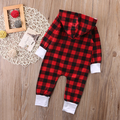 Autumn Toddler Infant Baby Boy Girl Long Sleeve Hooded Romper Red Plaid Jumpsuit Clothes Outfits New