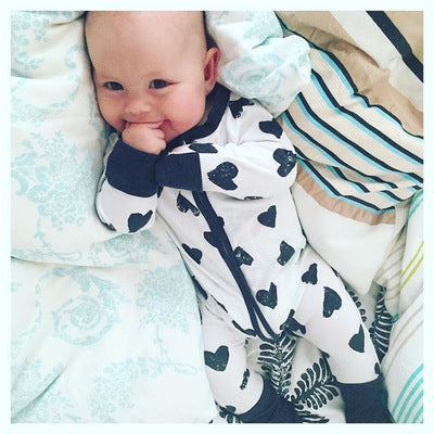 Cotton Newborn Baby Girl Boy Clothes Long Sleeve Dot Heart Romper Jumpsuit Outfits