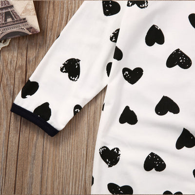 Autumn Cotton Newborn Baby Girl Boy Clothes Long Sleeve Dot Heart Romper Jumpsuit Playsuit Outfits