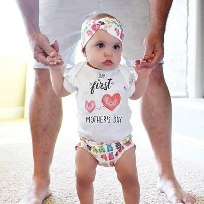 Newborn Baby boys girls letter Heart Mother's day Bodysuits onesie Infant Babies Bodysuit one-pieces Outfits Kids Clothing