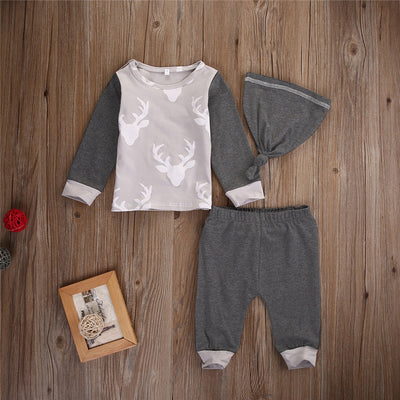 Autumn Spring New Kids Girls Boys Casual Christmas Cotton Tops Long Pants hat Set Tracksuit Kid Clothing set
