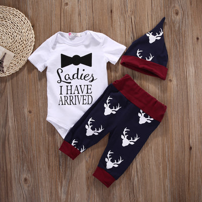 Newborn baby boy clothing set Short Sleeve  Romper+Pant+Hat Outfits Set Deer Clothes