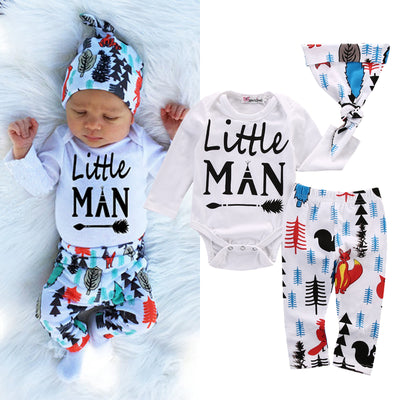 Autumn style infant clothes baby jungle clothing sets boy romper+pants+hat  3pcs suit baby boy clothes newborn