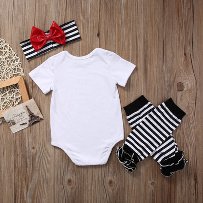 3pcs/Set newborn baby Girls clothing set Daddy WCW Romper Jumpsuit Leg Warmers Headband Outfit