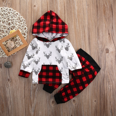 2pcs suit baby Boys girl clothing sets Kid Baby Boys Girls Deer Pullover Hooded Top + Pants Set Clothes Outfit
