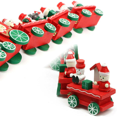 4pcs wood toy xmas christmas train toy for ornament decoration decor gift