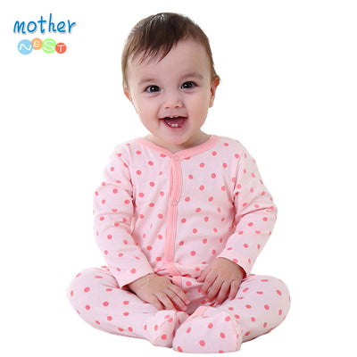 Newly Long Sleeve Baby Clothing Baby Boy Girl Wear Pink Polka Dot Newborn Baby Overall Clothes Baby Rompers