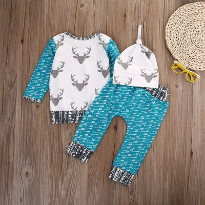 Spring Newborn baby Deer Clothing Set Baby Boy Girl Long Sleeve Tops +Long Pants Hat 3PCS Outfits Set Clothes
