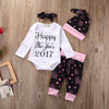 4Pcs Happy Year baby clothing Set Baby Girls Boy Infant Long Sleeve Romper +Pants Leggings+Hat +headband Outfit Clothes