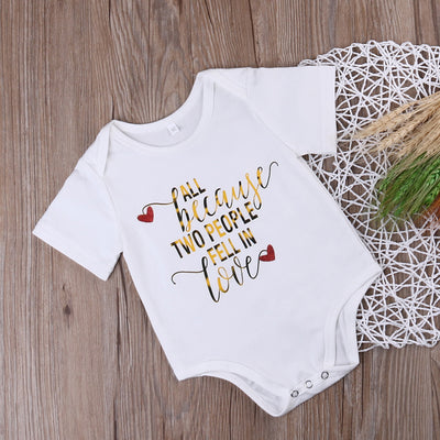 Newborn Infant Baby Boy Girl Cotton Short Sleeve Romper All because Letter Printed Jumpsuit Kids Clothes Outfit