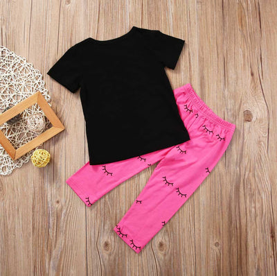 2Pcs Kid baby clothing set girls clothes Kid Baby Girls Lips Short Sleeve T-shirt Tops +Leggings Pants Clothes XMAS Set