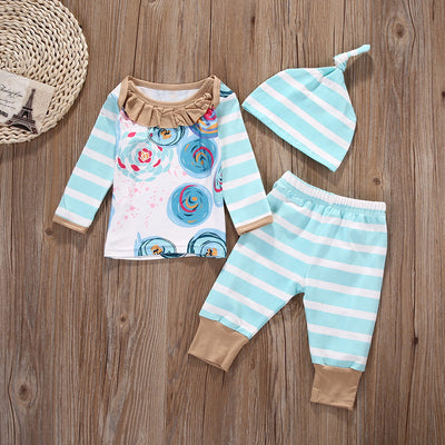 Baby Girl Clothes New Fashion Spring Autumn Children Clothing Kids Suits Casual Long Sleeve T-Shirt Pants Headband