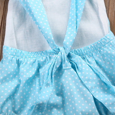 2pcs Newborn Infant Baby Girl Kids Polka Dot Romper+Headband Set Sunsuit Clothes Outfits