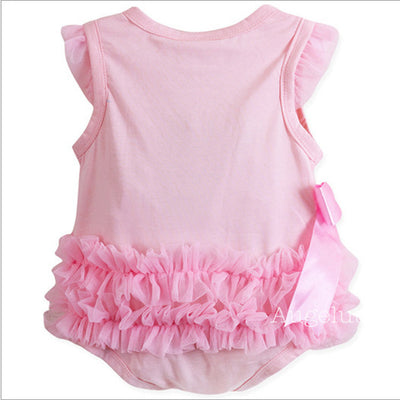 Infant Kids Baby Girls Princess Clothing Pink Lace Bow Jumpsuit Bodysuit Clothing Outfits Set
