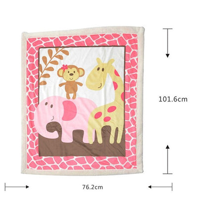 Super Soft Fleece Blue/Pink Baby Blanket Winter Cartoon Pattern Newborn Swaddle Wrap Blanket & Swaddling