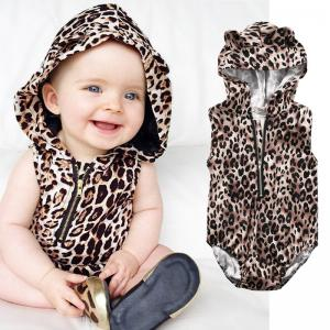 Baby Boys Girl Sleeveless Zipper Romper Leopard Jumpsuit Kids Hooded Clothes Outfits Sun suit