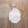 Newborn Infant Baby Girls Summer Sleeveless Belt Cotton Floral Romper Backless Jumpsuit Clothes Outfits