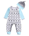 2Pcs/Set born Baby Boys Girls Short Sleeve arrows Romper Jumpsuit Hat Outfit Arrows Print Clothes