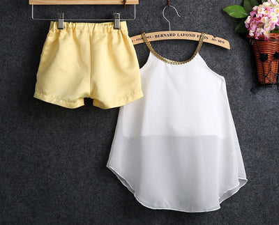 2Pcs/set Summer Kids Toddler Baby Girls Chiffon Clothes Halter Tops Shirt +Pants Outfits Summer kid Girls clothing Set