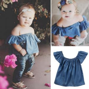 New Fashion Infant Toddler Baby Kid Girls Denim Casual Tops ruffles Short Sleeve T-Shirt 0-4Y
