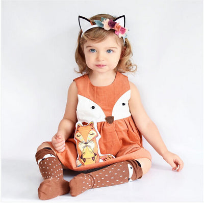 8c7e58de00082 1-5Y Casual Baby Girls Toddler Kids Fox Dress Sleeveless Formal ...