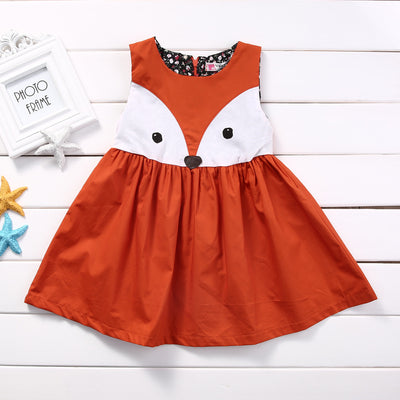 1-5Y Casual Baby Girls Toddler Kids Fox Dress Sleeveless Formal Party Wedding Tutu Dresses