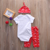Baby Clothing Sets Cute born Baby Girl Boy Outfits Clothes Cotton Romper Bodysuit 3PCS Set 0-18M