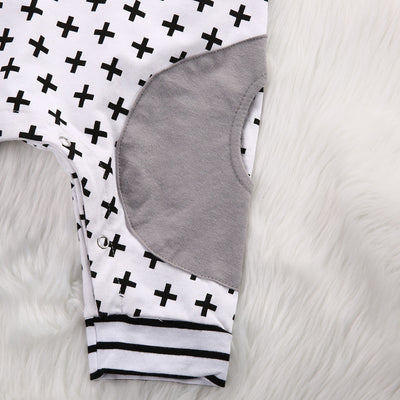 Newborn Baby Boys Xmas Cotton Short Sleeve Hooded Romper Geometric Striped Jumpsuit Outfits Suit Clothes
