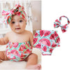 Newborn Infant Toddler Baby Girl Romper Watermelon Pattern Tops Headband Outfits