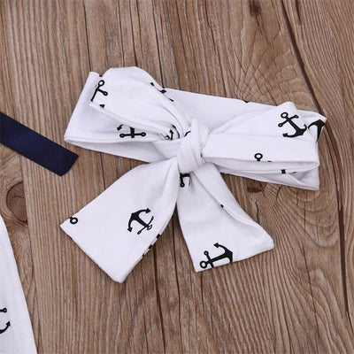 2Pcs/Set ! Newborn Infant Kids Toddler Baby Girls Clothes Bow-knot Anchor Romper Backless Jumpsuit +headband Outfits Sunsuit