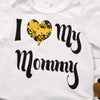Baby girls clothing I Love Mommy 3pcs Newborn Baby Girl Romper Tops+ Headband +Leg Warmer Outfit Set