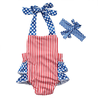 2Pcs/Set !Newborn Toddler Infant Baby Girl Striped Sleeveless Belt Romper Backless Jumpsuit Outfit Spring Clothes