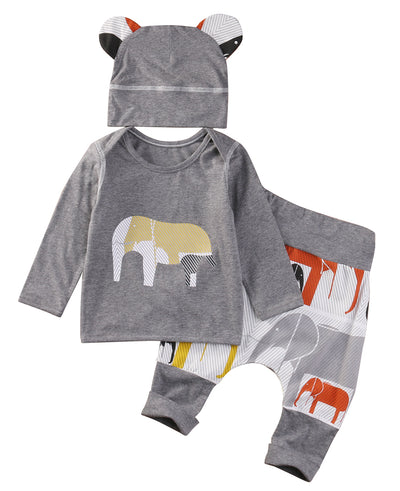Autumn Baby Boys Clothes Elephant Baby Clothing Sets Long Sleeve T-shirt+Pants+Hats 3Pcs Suits Children Clothing