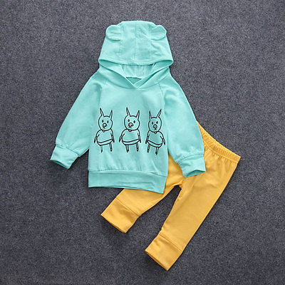 Newborn Baby Girls Long Sleeve T-shirt+Pants Outfits Hooded Clothes Set