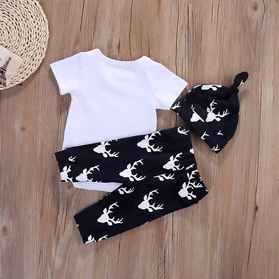 Autumn style infant clothes baby boy clothing sets Baby Boys Tops Romper +Deer Pants Hat Outfits Set Clothes