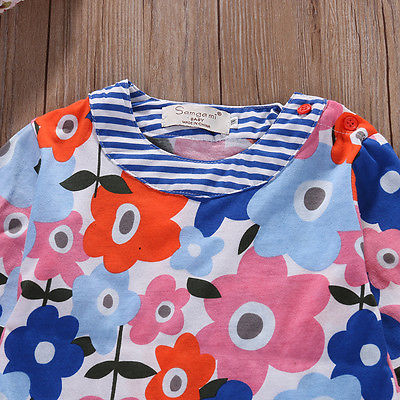 Autumn Toddler Baby Girls Kids Autumn Clothes Long Sleeve Floroal Party Tops T-Shirt Dress 1-6Y