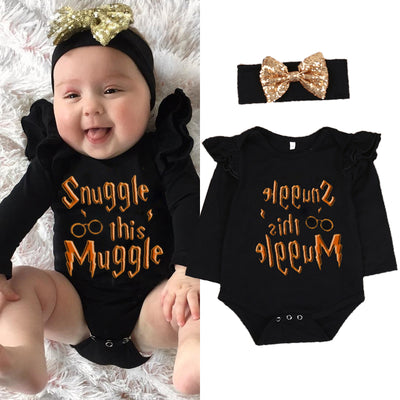 Baby girls clothing set Xmas Newborn Baby Boys Girls Long Sleeve Romper Jumpsuit +Headband Clothes Outfits