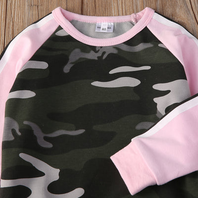 Kids clothing Autumn style Baby Clothing Sets 2PCs suits Baby Girls Camouflage T-shirt Tops+ Long Pants Outfits Clothing Set