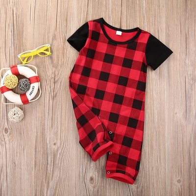 Newborn Infant Baby Boy Long Sleeve Romper Kids Cotton Plaid Jumpsuit Clothes Girl Outfit