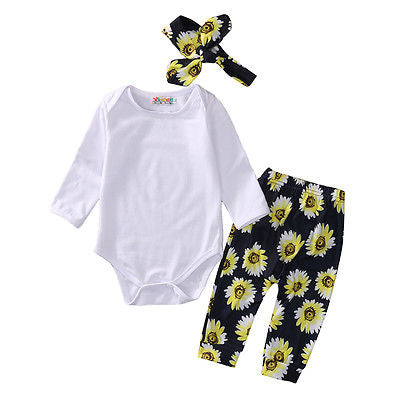 3pcs Baby Girls Clothing Sets Newborn Toddler Kids Baby Girls Tops+Pants+Headband Outfits Clothes Set