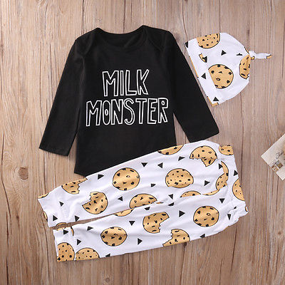 Kids clothing Autumn style Baby Clothing Sets 3 PCs suits Baby Boy Girl Clothes Romper T-shirt Tops+Pants Outfits suit