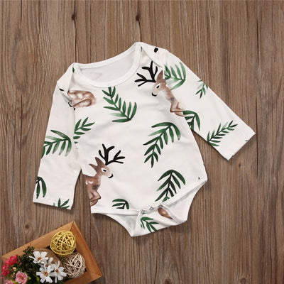 Spring Autumn Infant Newborn Boys Girls Long Sleeve Romper leaves deer Printing Jumpsuit Outfits Clothes