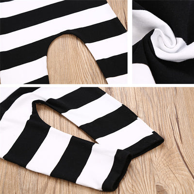 Newborn Toddler Kids Baby Boy Girl Cute Black and White Striped Romper Sleeveless Jumpsuit Outfit Clothes