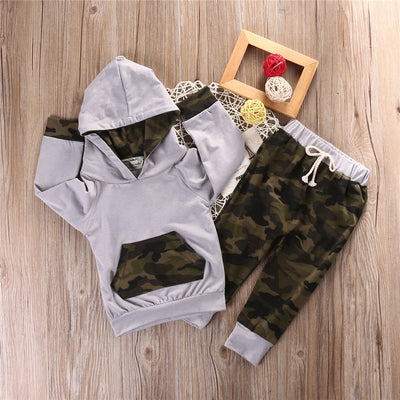 2Pcs /Set Kid baby Boys clothing Newborn Baby Boy Girl Camouflage Clothes Cotton Hooded Tops Leggings Pants 2PCS Outfits