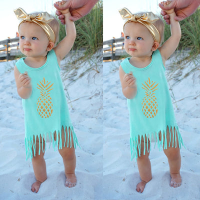 Summer Toddler Infant Baby Kids Girls Sleeveless pineapple Tassel Dress Casual Crew Neck Dress 0-5 Years