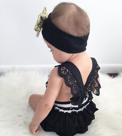 2Pcs/Set ! Newborn Kids Baby Girls Clothes Lace Tutu Romper Striped Backless Jumpsuit + Headband Outfits